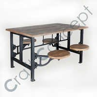 Wooden & Metal Dining Table With 4 Seating