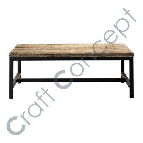 Solid Wood & Black Metal Coffee Table