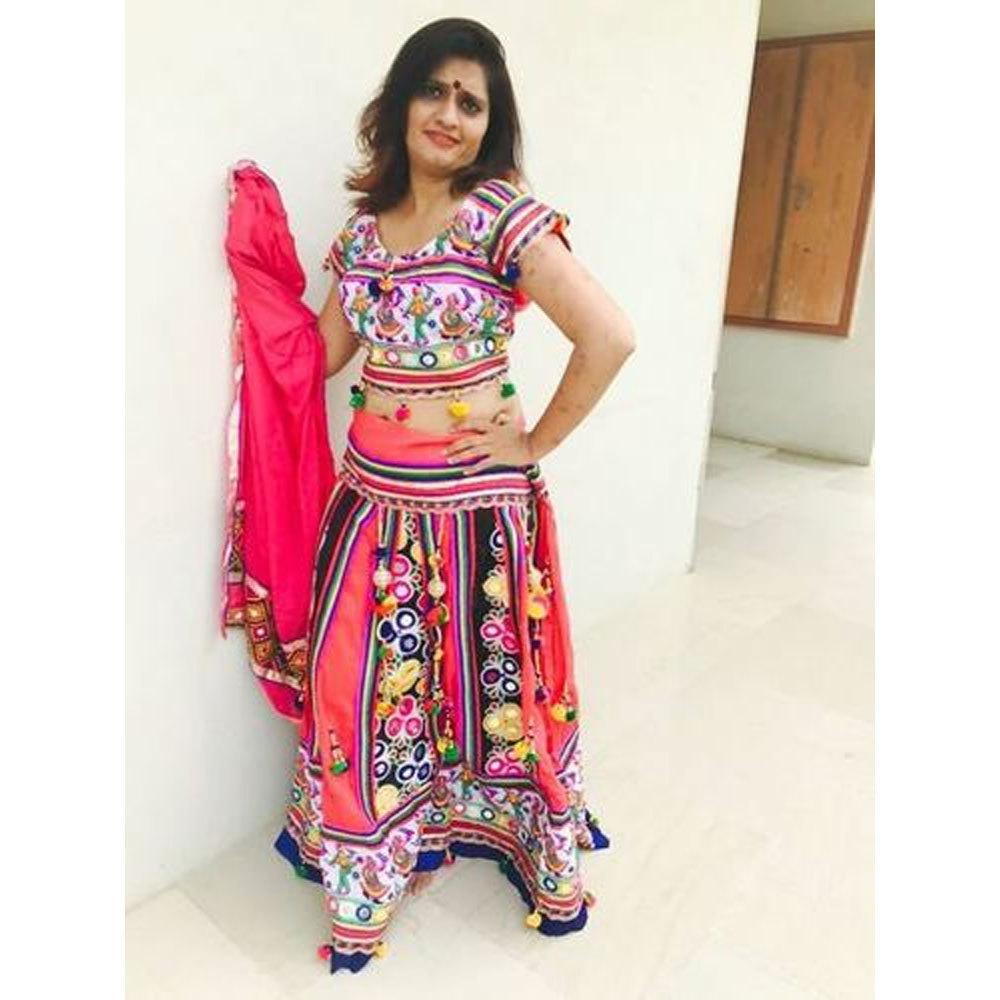 Dandiya Dress Red Duppata MirrarWork Costume