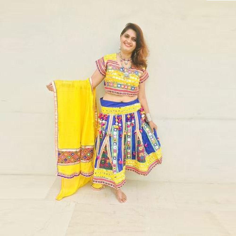 Dandiya Dress Yellow Blue Kachli MirrarWork Costume