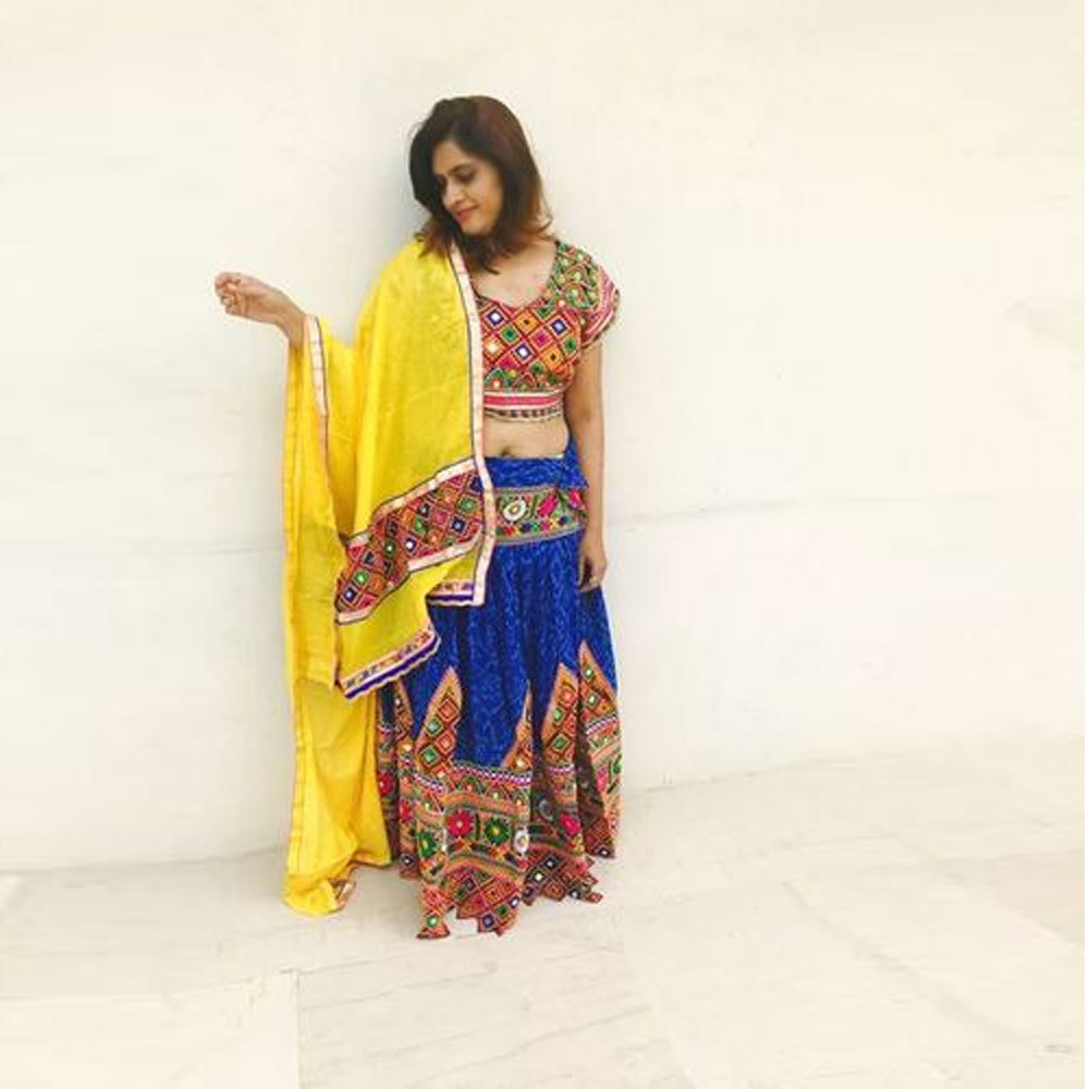 Dandiya Dress Yellow Duppata Blue Kachli MirrarWork Costume