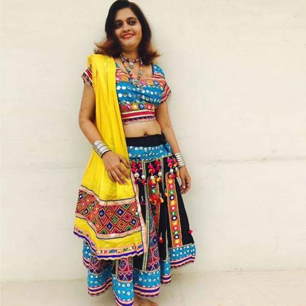 Dandiya Dress Yellow  Duppata Black Skirt Mirrar Work Costume
