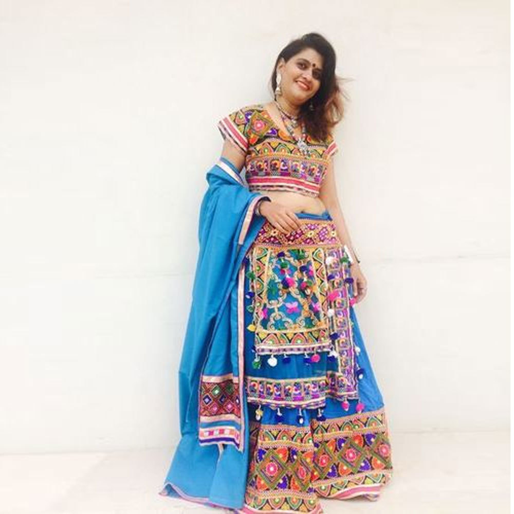 Dandiya Dress Terquice Kasida Work Costume