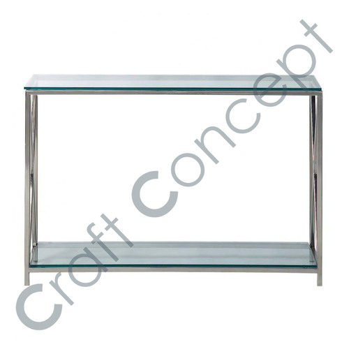Steel & Chrome Glass Console Table