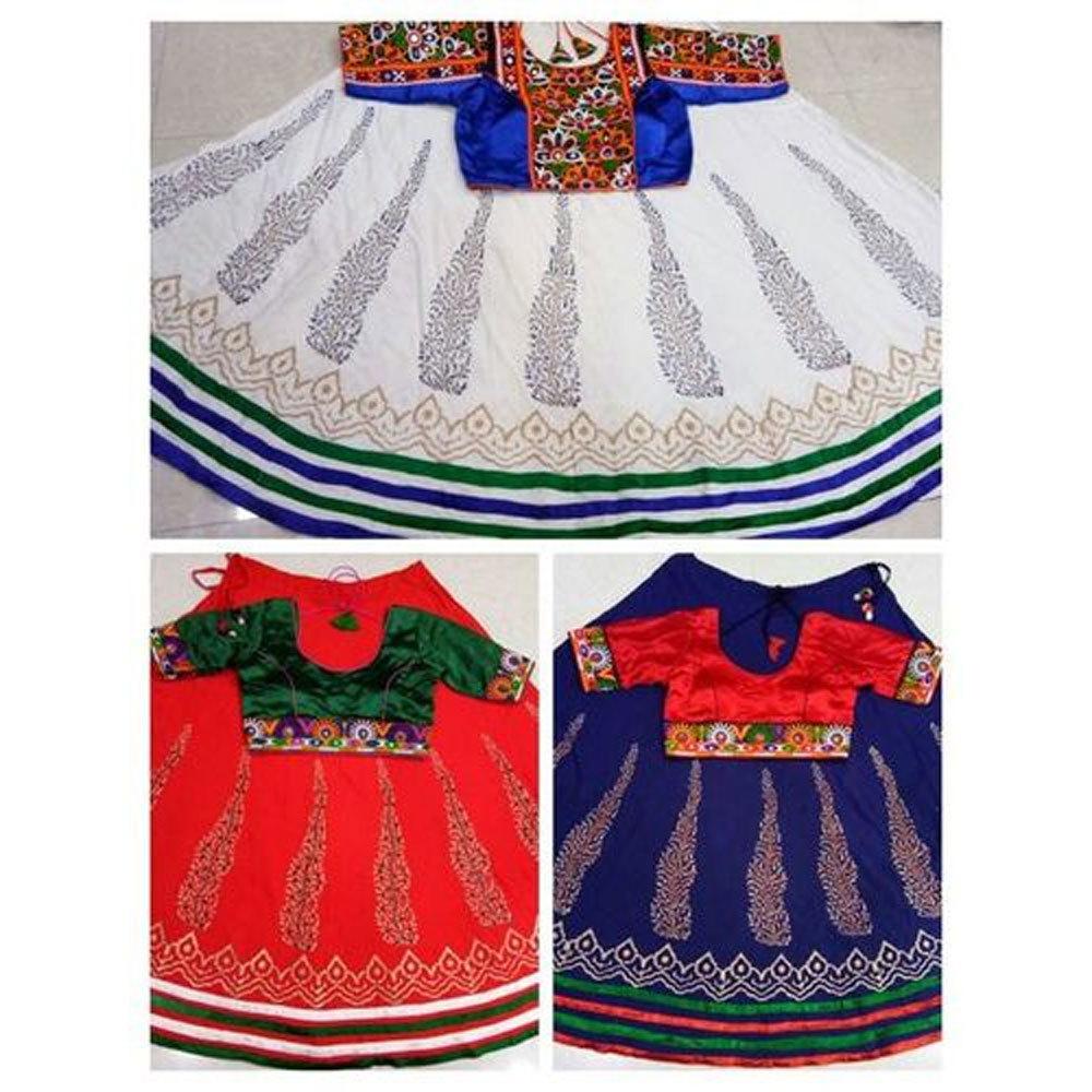 Dandiya Dress  Red White Blue  Printed Costume