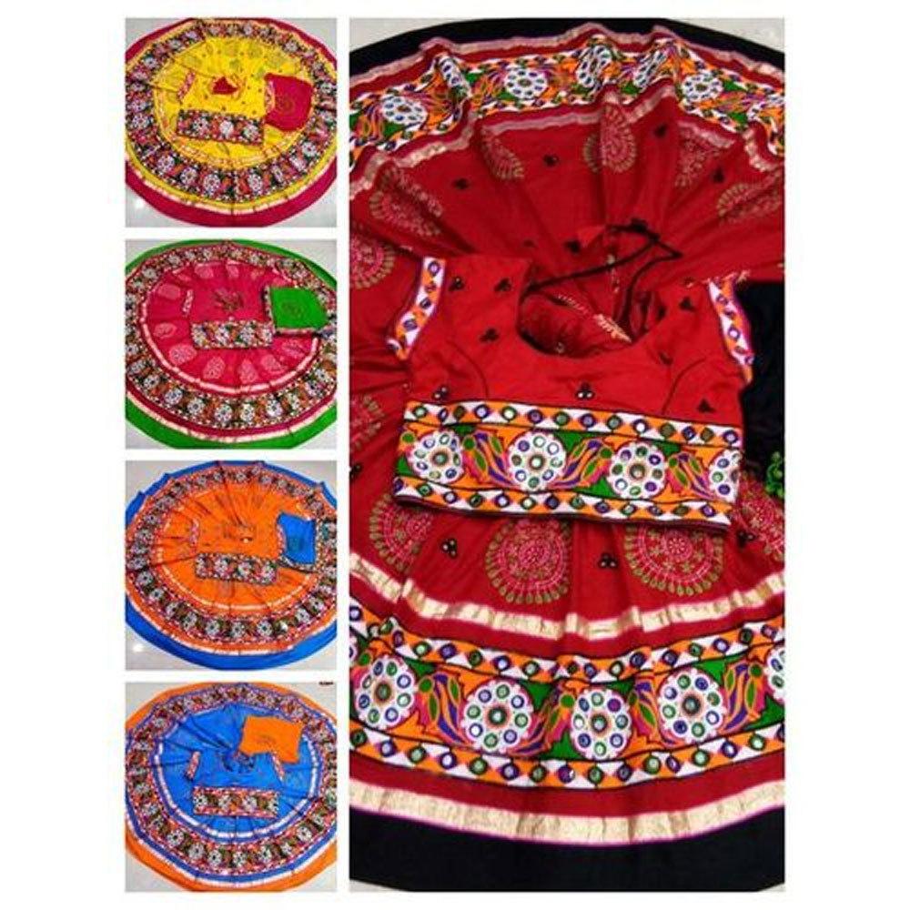 Dandiya Dress  Red Blue Orange Blue Kasida Work  Printed Costume