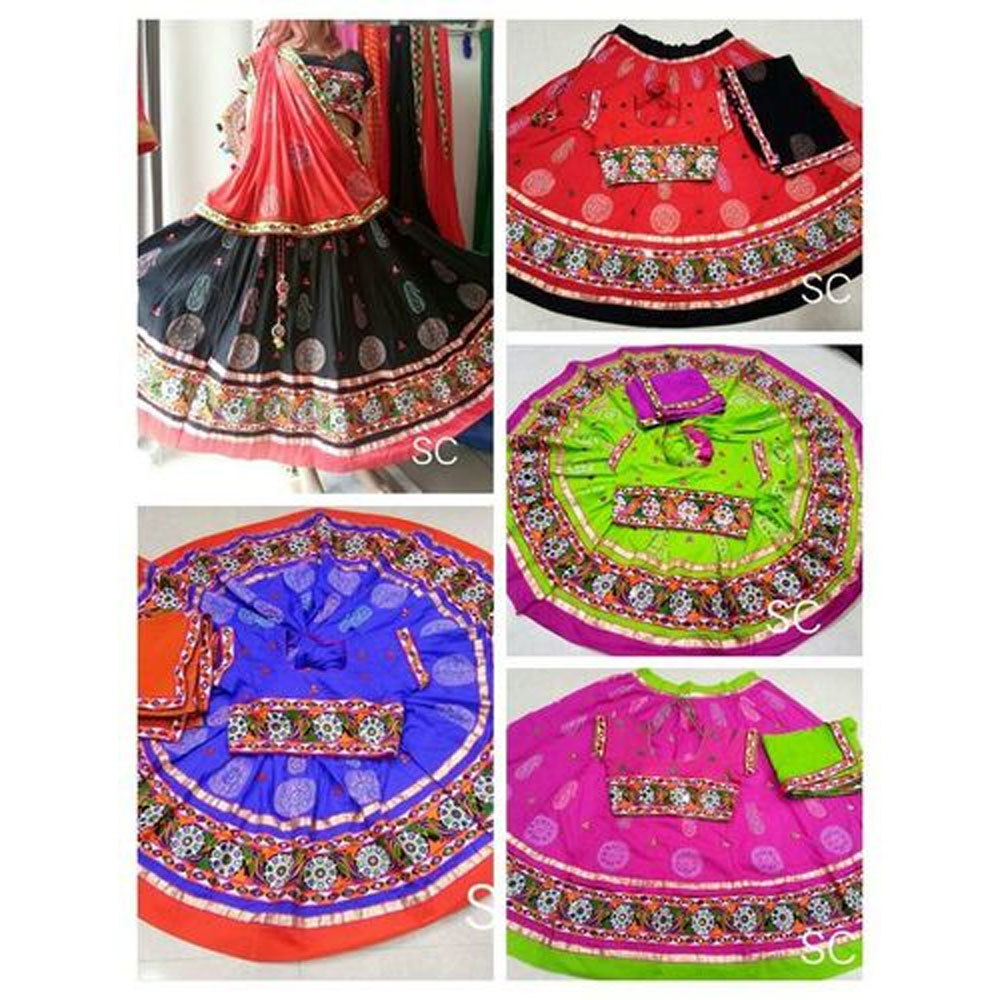 Dandiya Dress Red Pink Green Black kasida Work Printed Costume