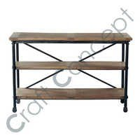 Casters In Metal Solid Mango Wood Console Table