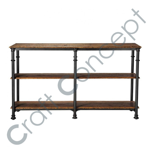 Recycled Black Solid Wood Console Table