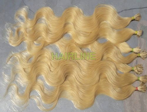 blond hair wavy glue tip