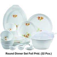 Microwave Safe Plastic Round Printed Dinner Set (32pc.)
