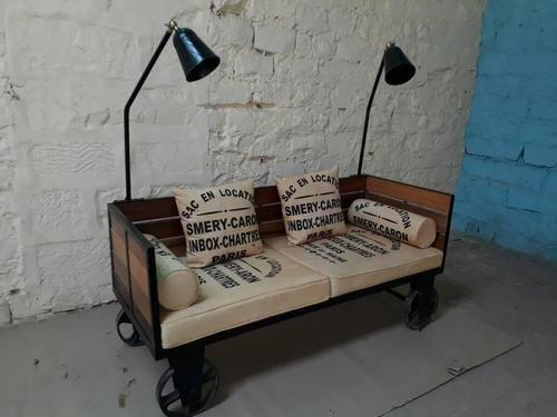 Reclaimed Wood & Iron Industrial Sofa on Wheels with Lamps