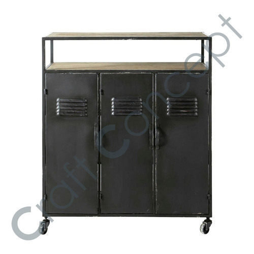 Black Metal Bar Cabinet With Casters