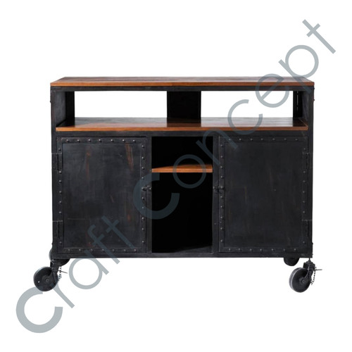 Black Metal Cabinet With Casters