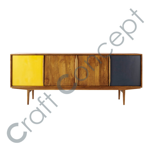 Yellow/ Gray & Brown Vintage Wooden Buffet