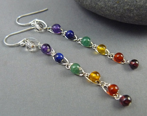 Gemstone Chakra Earrings