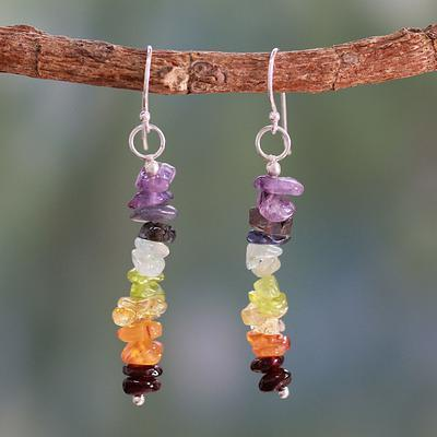 Peridot and Carnelian Cluster Earrings