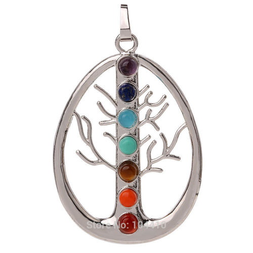 7 Chakra Stone Beads Tree of life Pendant