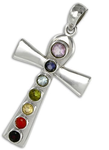 Ankh Chakra Pendant in Sterling Silver With Facete