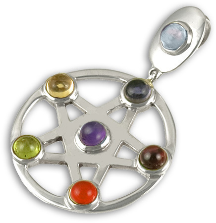 Silver Natural Gemstone Chakra Pendant