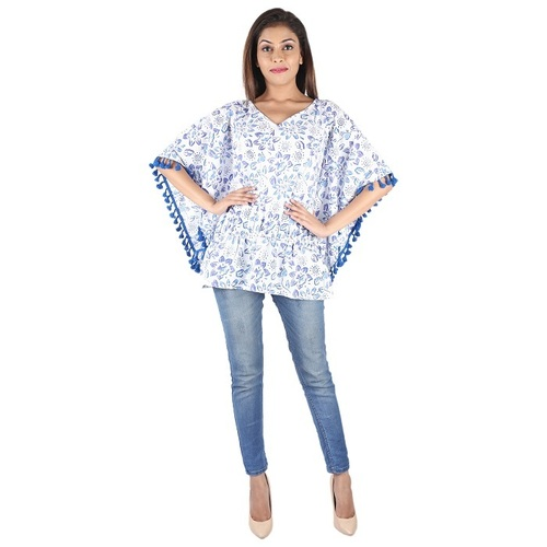 Cotton Hand Block Print Beachwear Kaftan Top