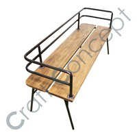 IRON BACK WOODEN BENCH
