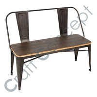 2 Seater Iron Wooden Bench