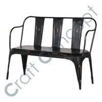 3 Seater Black Iron Bench