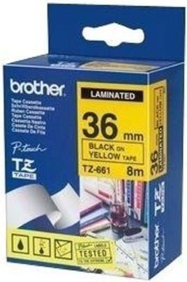 Brother Tze 661 Black on Yellow