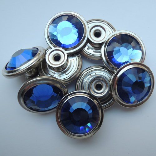 22mm Pewter with Blue Glass Stone Shank Button (HD2129-16)