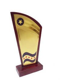 Golden Wooden Trophy