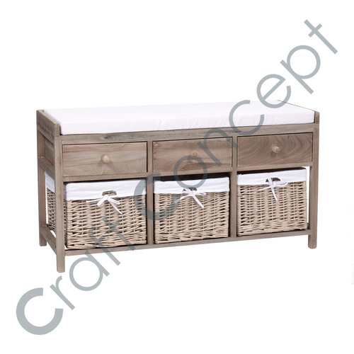 3 Drawer & 3 Block Wooden Bench