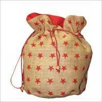 Jute Designer Print Drawstrings Bags