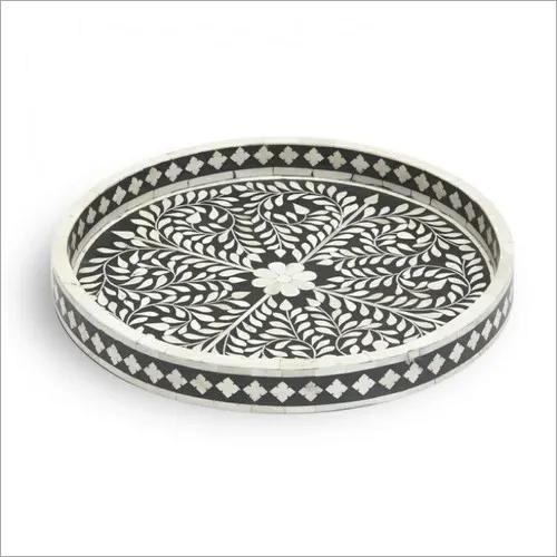 Round Shape Bone Inlay tray