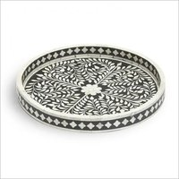 Round Shape Bone Inlay tray