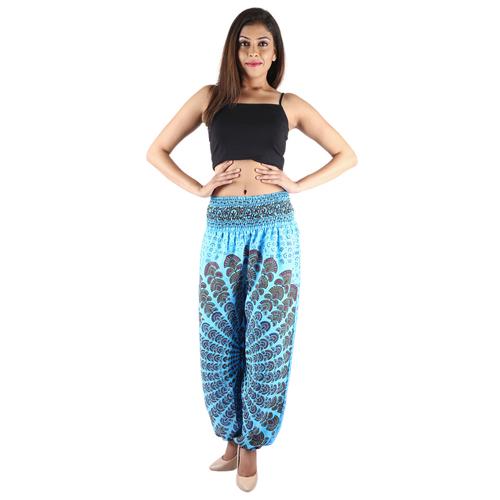 Poly crepe Mandala Sky-Blue Trouser
