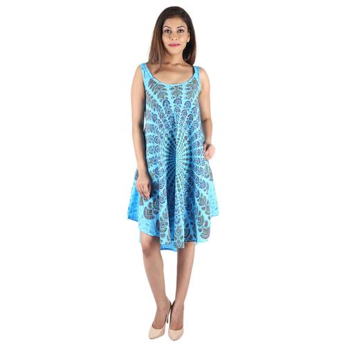 Umbrella Dresses Poly Crepe Mandala Sky Blue Color Western Dress