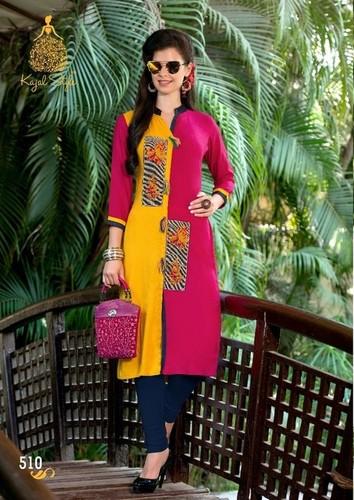 Kajal Style Rayon Designer  Kurtis