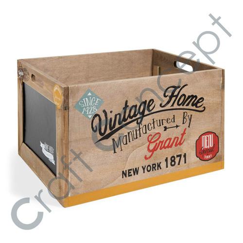 Vintage Print Wooden Box