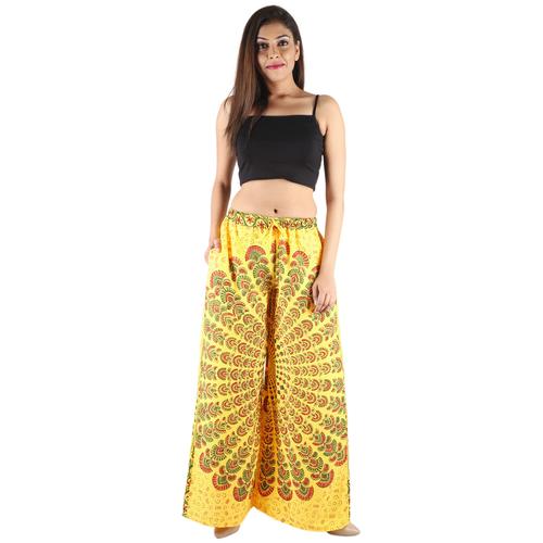 Poly Crepe Mandala Print Women Yellow Palazzo Trouser