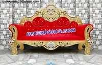 Gold Plated Wooden Carved Sofa For Wedding