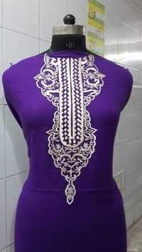 Purple Kurta With Silk Thread Embroidery