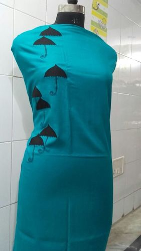 sea green kurta with umbrella embroidery