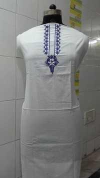 white kurta with blue kurta pati pattern embroider