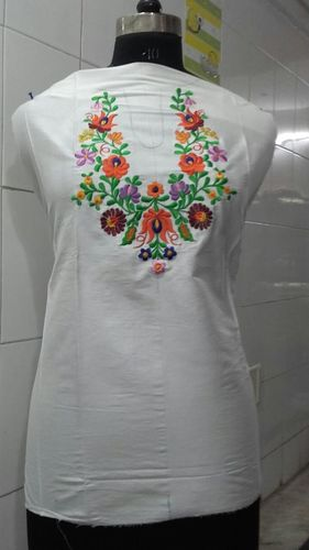 white kurta with multi col embroidery