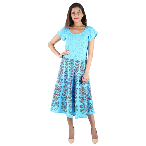 Umbrella Dresses Poly Crepe Mandala Sky Blue Color Western Dress