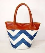 Leather with handmade rug tote shopper bag