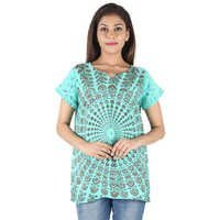 Poly Crepe mandala Top Dresses Women BeachwearDresses Hand Block Ladies C.Green Top Dress