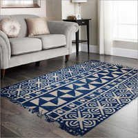 Cotton Indigo Block Printed Rug ,Modern Home Decor ,Handmade Area Rug