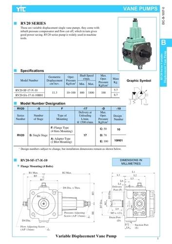RV20-SF-17-E-10 HYDRAULIC PUMP